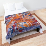 bed comforter with conflluence shapes abstraction design in tones of violet, orange, red and blue
