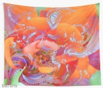 wall tapestry with natural swirls on orange and pink abstract pattern