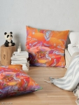 floor pillows with natural white swirls on orange and pink abstract floral pattern