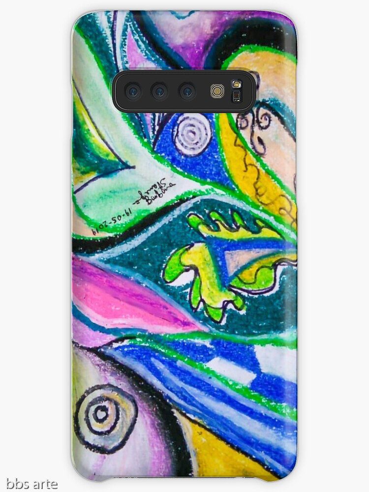 samsung galaxy skin with multicolored abstract dynamic design with geometric shapes, bended lines and circles