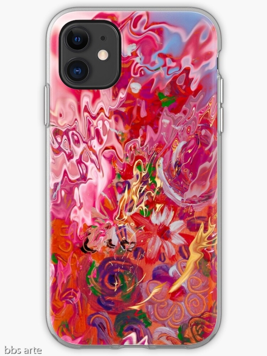 iPhone case with abstract floral suggestion pattern in pink and fuchsia shades with light blue, yellow, orange, white, green and purple colors