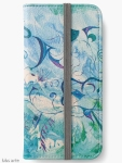 iPhone wallet with orient impressions abstract design in blue and green shades with floating shapes