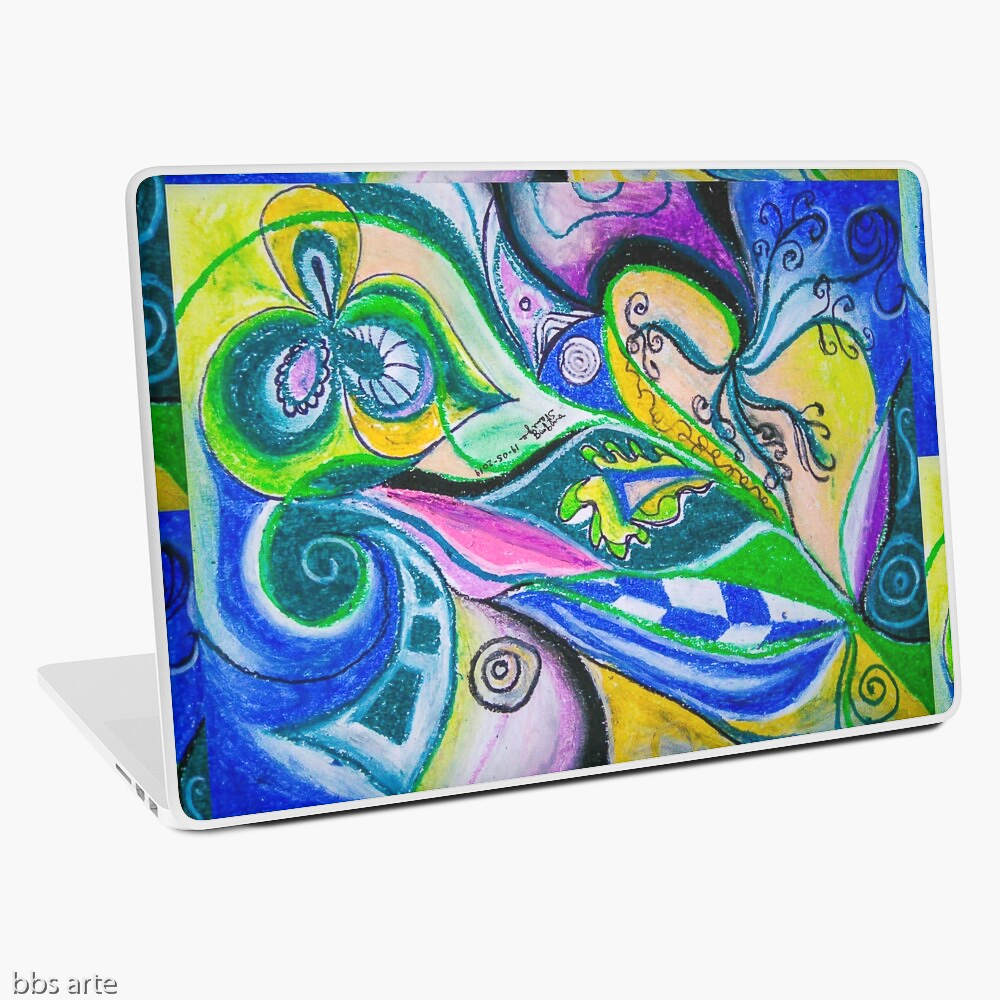 laptop skin with multicolored abstract dynamic design with geometric shapes, bended lines and circles