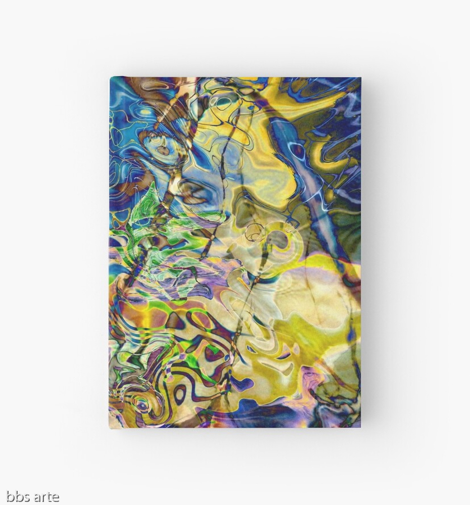 hardcover journal with swirling abstract shapes dynamic pattern in brilliant tones of blue and yellow
