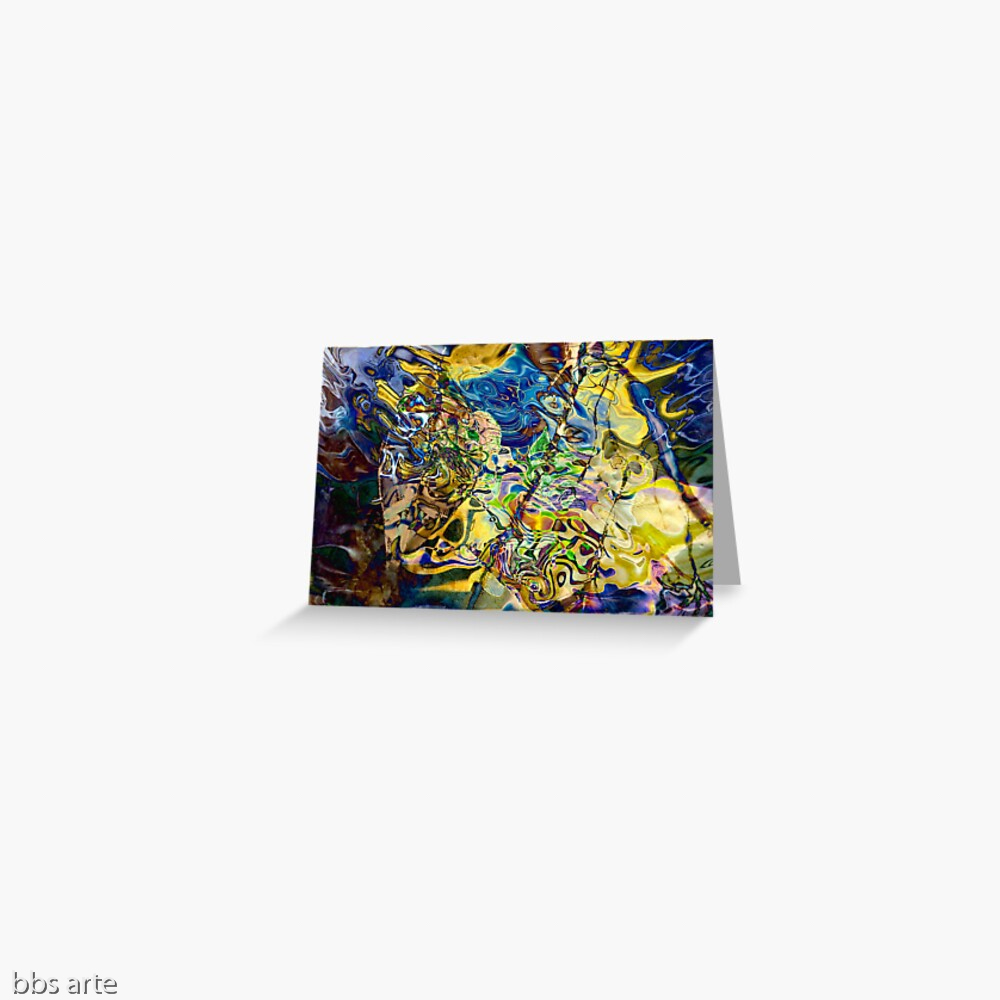 greeting card with swirling abstract shapes dynamic pattern in brilliant tones of blue and yellow