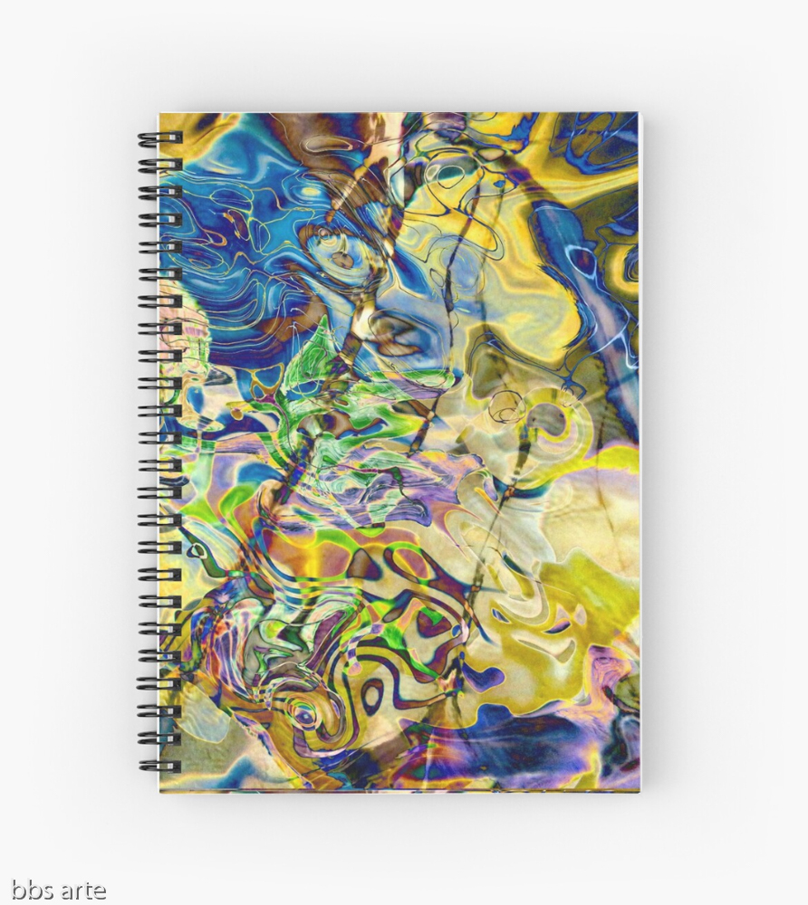spiral notebook with swirling abstract shapes dynamic pattern in brilliant tones of blue and yellow