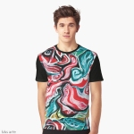xmas colors graphic t-shirt for man with Christmas colors abstract image in tones of red green, white, black and yellow with curls and curved shapes