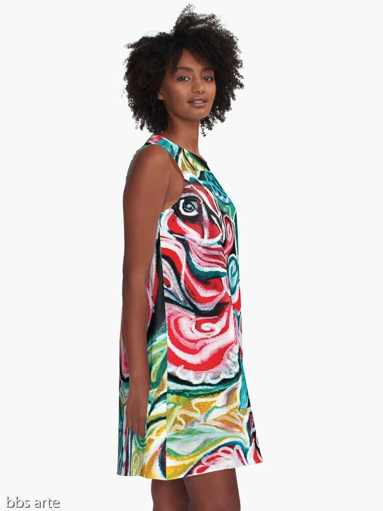 xmas design A line woman dress side view with Christmas colors abstract image in tones of red green, white, black and yellow