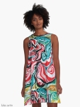 xmas design A line woman dress with Christmas colors abstract image in tones of red green, white, black and yellow