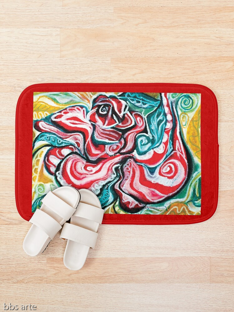 xmas design bath mat with Christmas colors abstract image in tones of red green, white, black and yellow