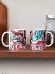 xmas design classic mugs with Christmas colors abstract image in tones of red green, white, black and yellow