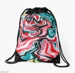xmas design dawstring bag with Christmas colors abstract image in tones of red green, white, black and yellow