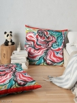 xmas design floor pillows with Christmas colors abstract image in tones of red green, white, black and yellow