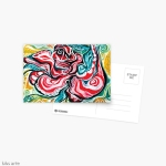 xmas design greeting card with Christmas colors abstract image in tones of red green, white, black and yellow