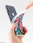 xmas design i Phone cover side view with Christmas colors abstract image in tones of red green, white, black and yellow