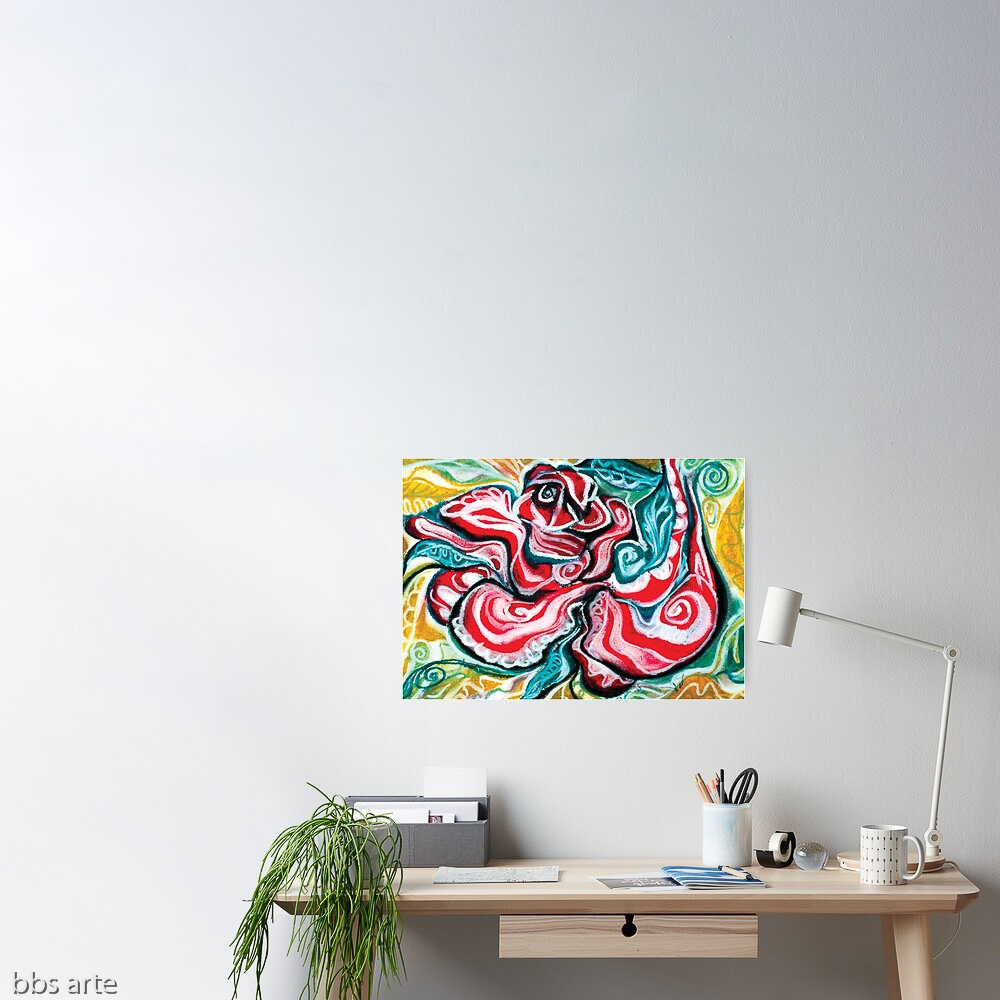 xmas design poster with Christmas colors abstract image in tones of red green, white, black and yellow