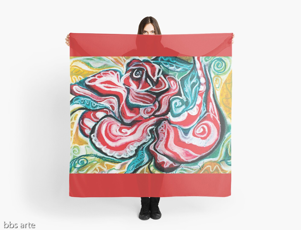 xmas design scarf with Christmas colors abstract image in tones of red green, white, black and yellow
