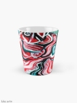 xmas design tall mug with Christmas colors abstract image in tones of red green, white, black and yellow