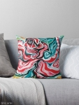 xmas design throw pillow with Christmas colors abstract image in tones of red green, white, black and yellow