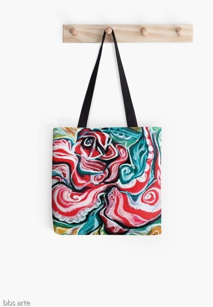 tote bag with Christmas colors abstract image in tones of red green, white, black and yellow