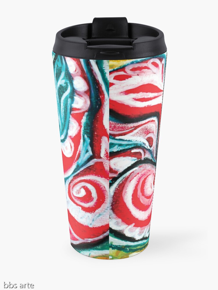 xmas design travel mug with Christmas colors abstract image in tones of red green, white, black and yellow