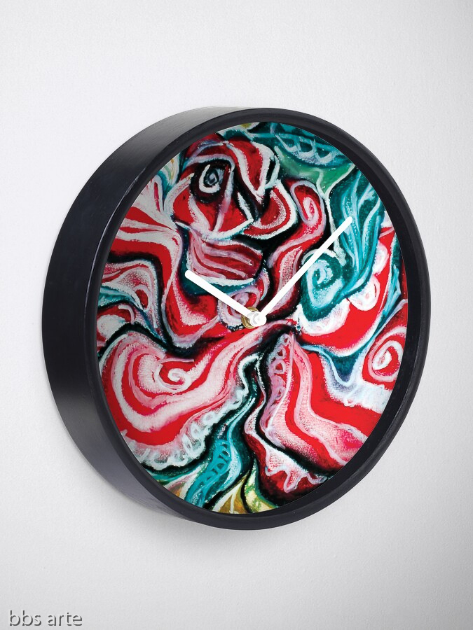 xmas wall clock with Christmas colors abstract image in tones of red green, white, black and yellow