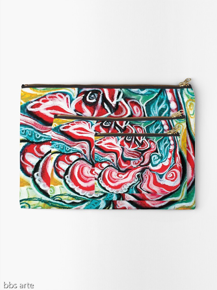 zipper pouches with Christmas colors abstract image in tones of red green, white, black and yellow