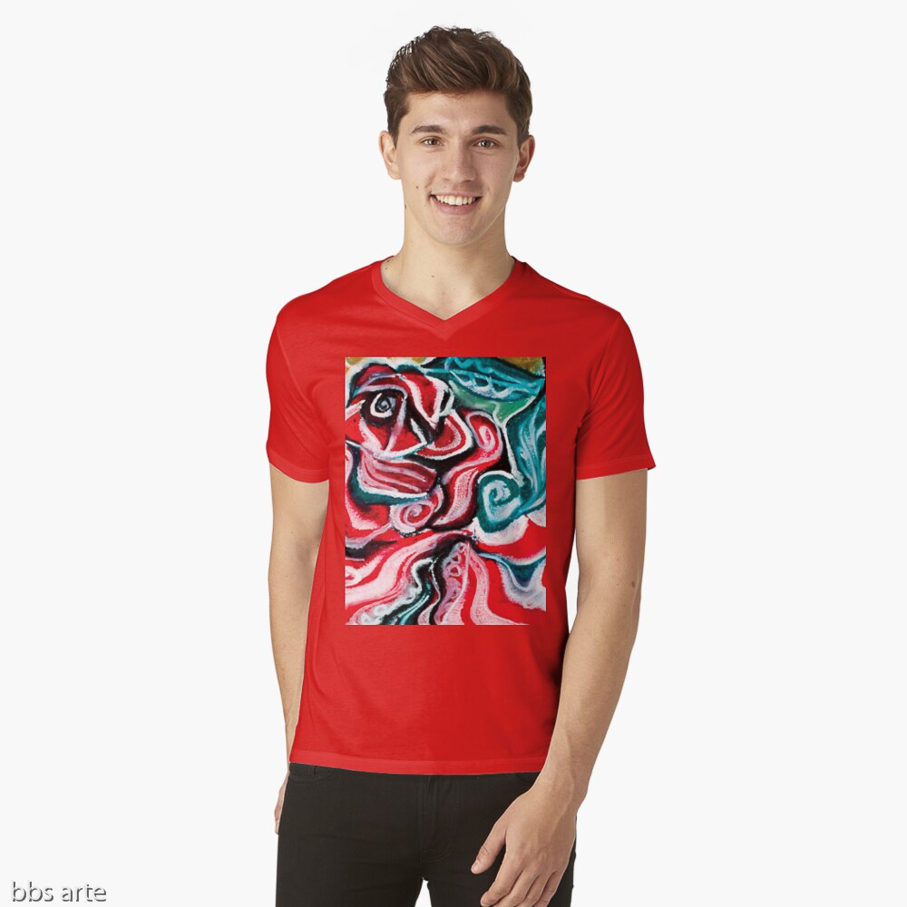 v neck t shirt with Christmas colors abstract image in tones of red green, white, black and yellow