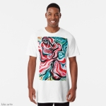 xmas long t shirt for man with Christmas colors abstract image in tones of red green, white, black and yellow with curls and curved shapes