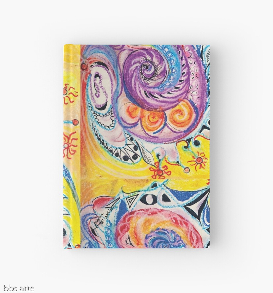closed hardcover journal with bright multicolored abstract design in red, white, orange, pink, black, blue, light blue and purple tones with circles and concentric shapes, on yellow background, with nuances