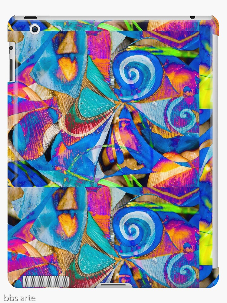 iPad case skin with abstract dynamic pattern of geometric and round shapes and curls, in tones of blue, fuchsia, orange, white, black, light green and yellow
