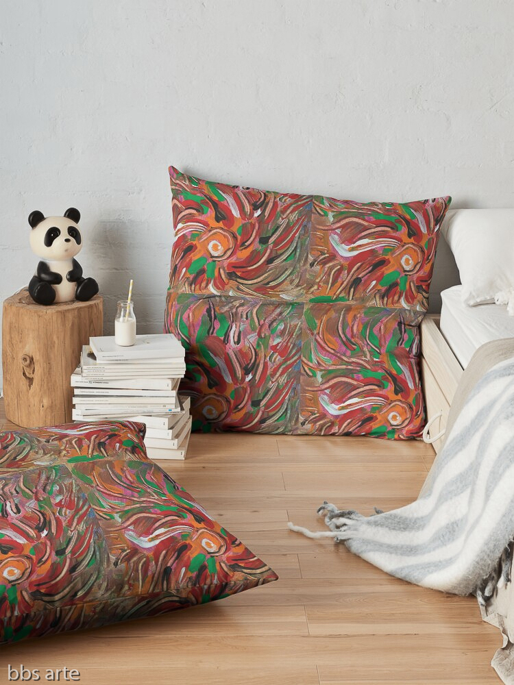 floor pillows with flaming vortex pattern in tones of red, white, green, orange, yellow, brown and black