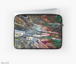 laptop sleeve with abstract fluid energetic flow design with concentric shapes in tones of white, brown, pink, dark red, light blue, green and black