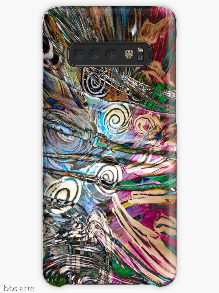 Samsung Galaxy case with abstract fluid energetic flow design with concentric shapes in tones of white, brown, pink, light blue, green and black