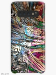 Samsung Galaxy case with abstract fluid energetic flow design with concentric shapes in tones of white, brown, pink, dark red, light blue, green and black