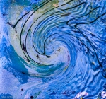 fluid vortex in indigo color with black bent lines,waves and green shades