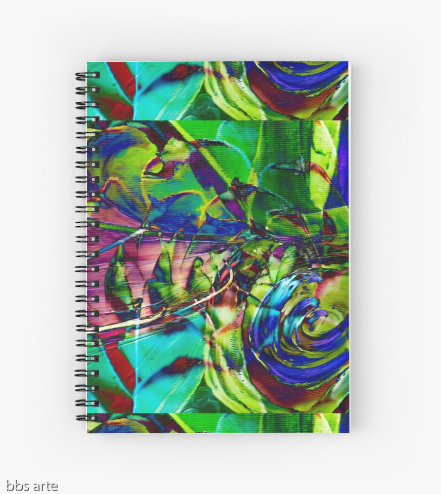 spiral notebook with abstract shapes composition pattern with swirls of green, blue, purple and fuchsia, with shades