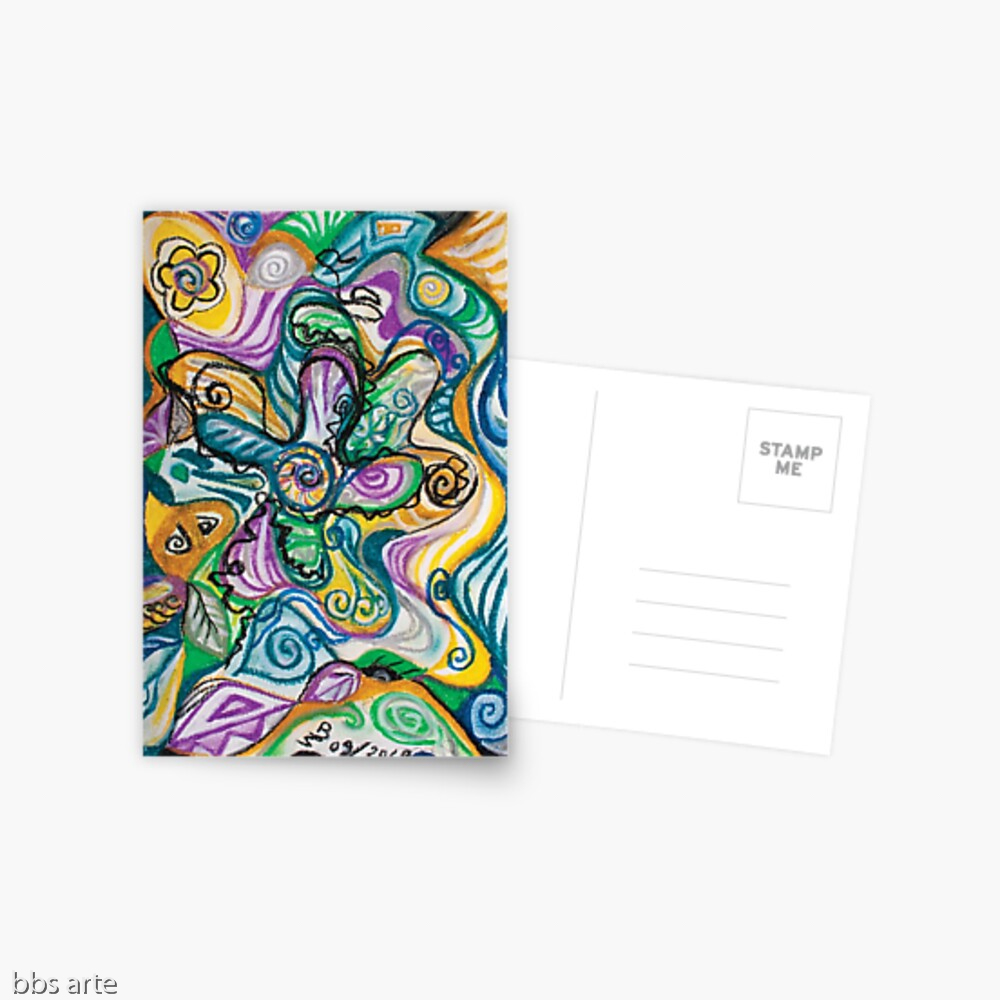 multicolored postcard with curved shapes and bended lines abstract wavy design composition in tones of blue, yellow, green, white, purple and black