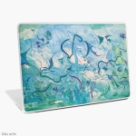 laptop skin with orient impressions abstract design in blue and green shades with floating shapes