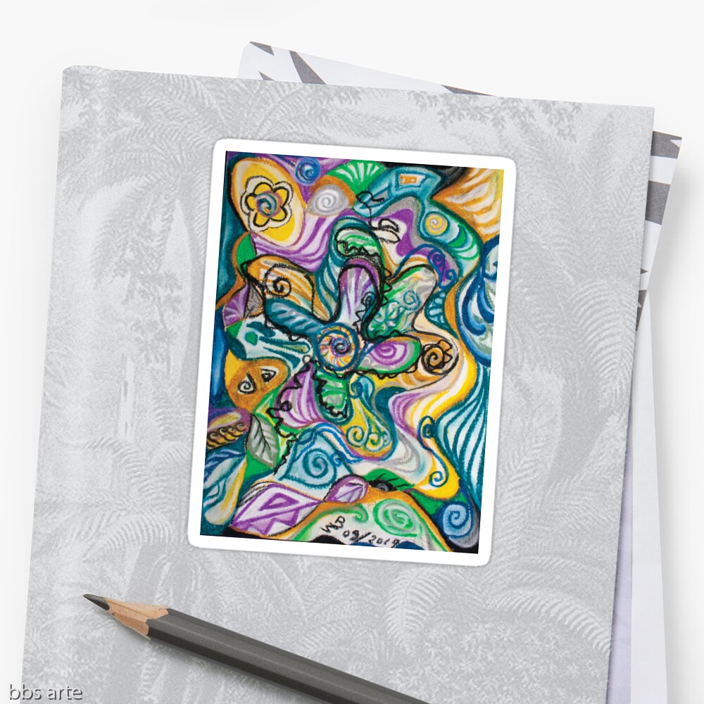 multicolored glossy sticker with curved shapes and bended lines abstract wavy image composition in tones of blue, yellow, green, white, purple and black