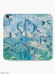 opened iPhone wallet with orient impressions abstract design in blue and green shades with floating shapes