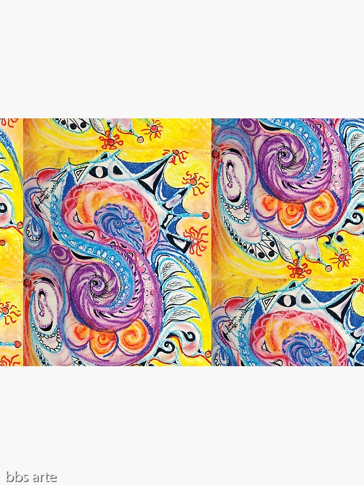 opened hardcover journal with bright multicolored abstract design in red, white, orange, pink, black, blue, light blue and purple tones with circles and concentric shapes, on yellow background, with nuances