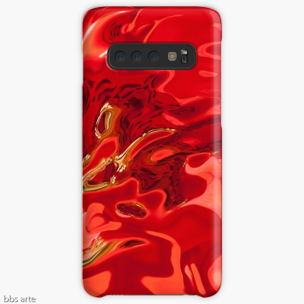 galaxy case in deep red tones with fluid shapes, black spots and yellow lines