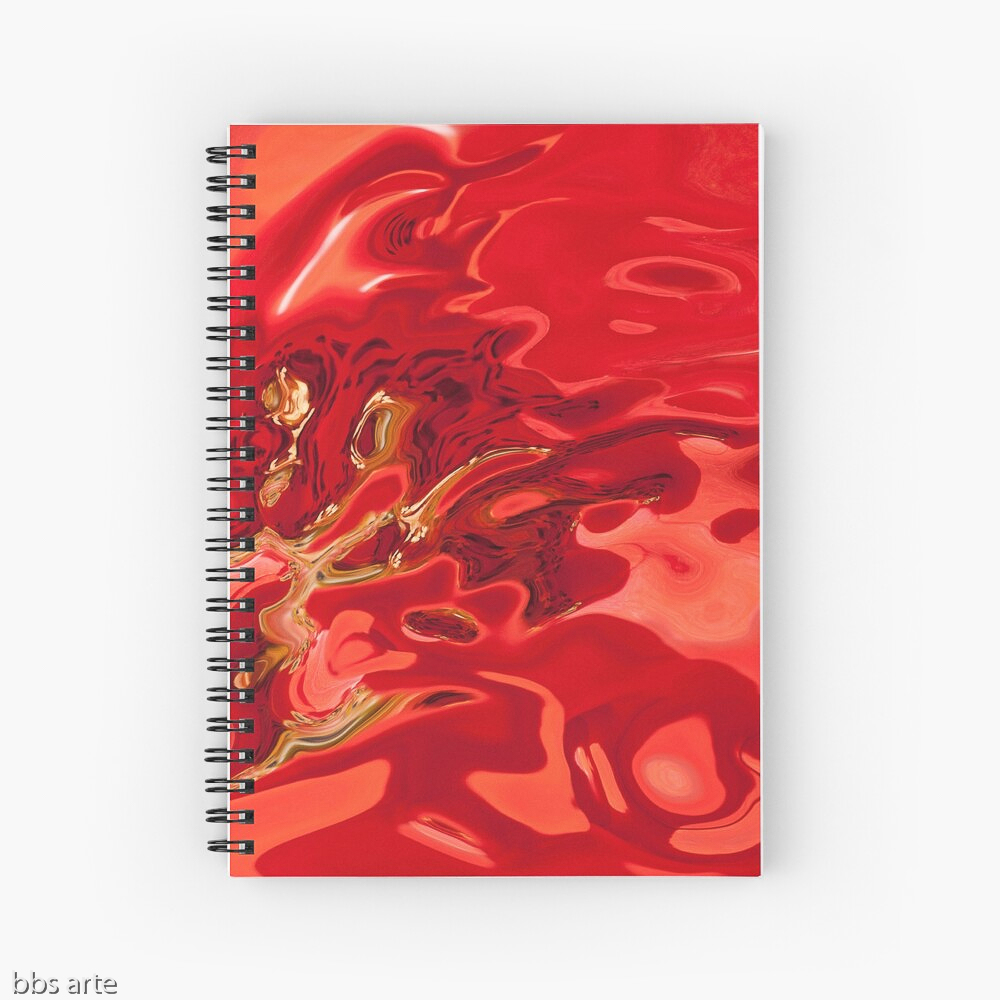spiral notebook in deep red tones with fluid shapes, black spots and yellow lines