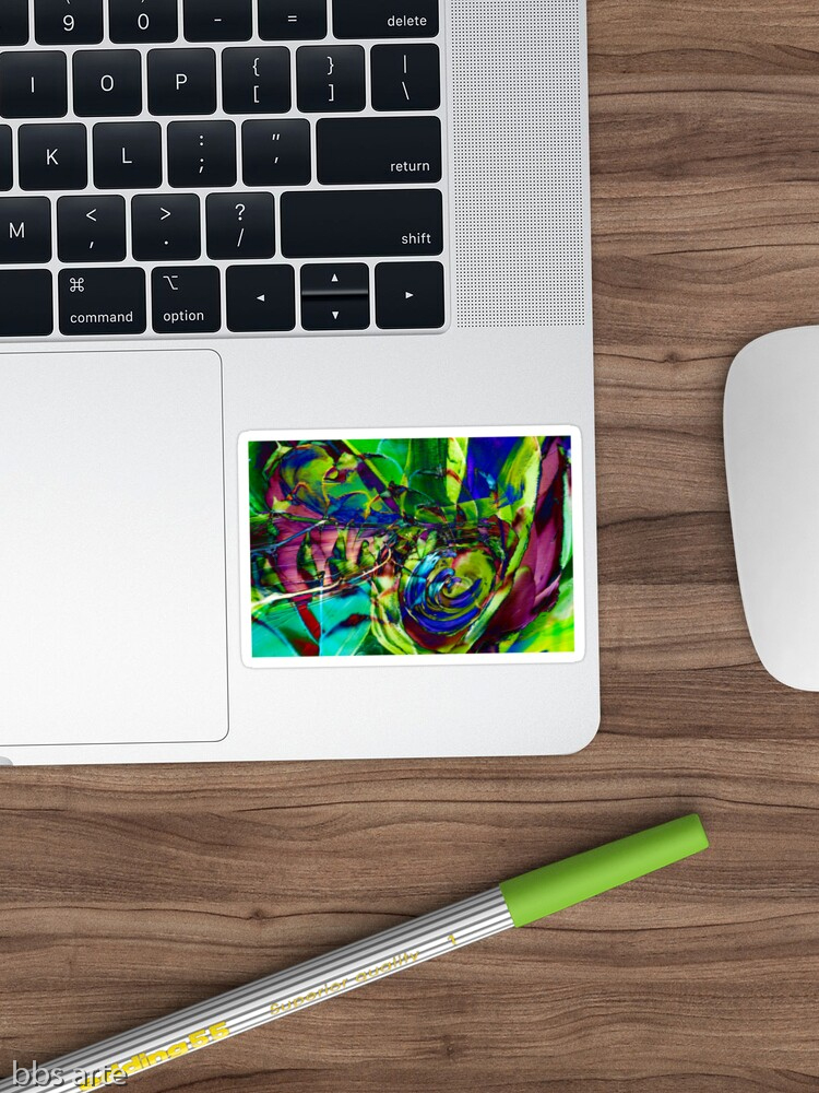 sticker with abstract shapes composition pattern with swirls of green, blue, purple and fuchsia, with shades