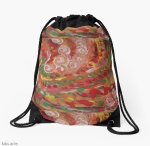 drawstring bag with swirling curls design, in tones of red, white, green, orange, yellow and brown