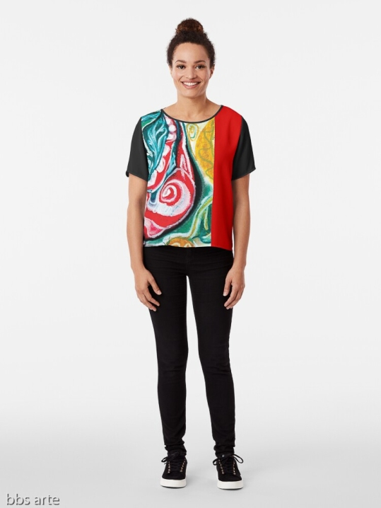 xmas chiffon top for woman with Christmas colors abstract image in tones of red green, white, black and yellow