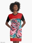 graphic t shirt dress with Christmas colors abstract image in tones of red green, white, black and yellow
