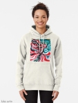 pullover hoodie for woman with Christmas colors abstract image in tones of red green, white, black and yellow
