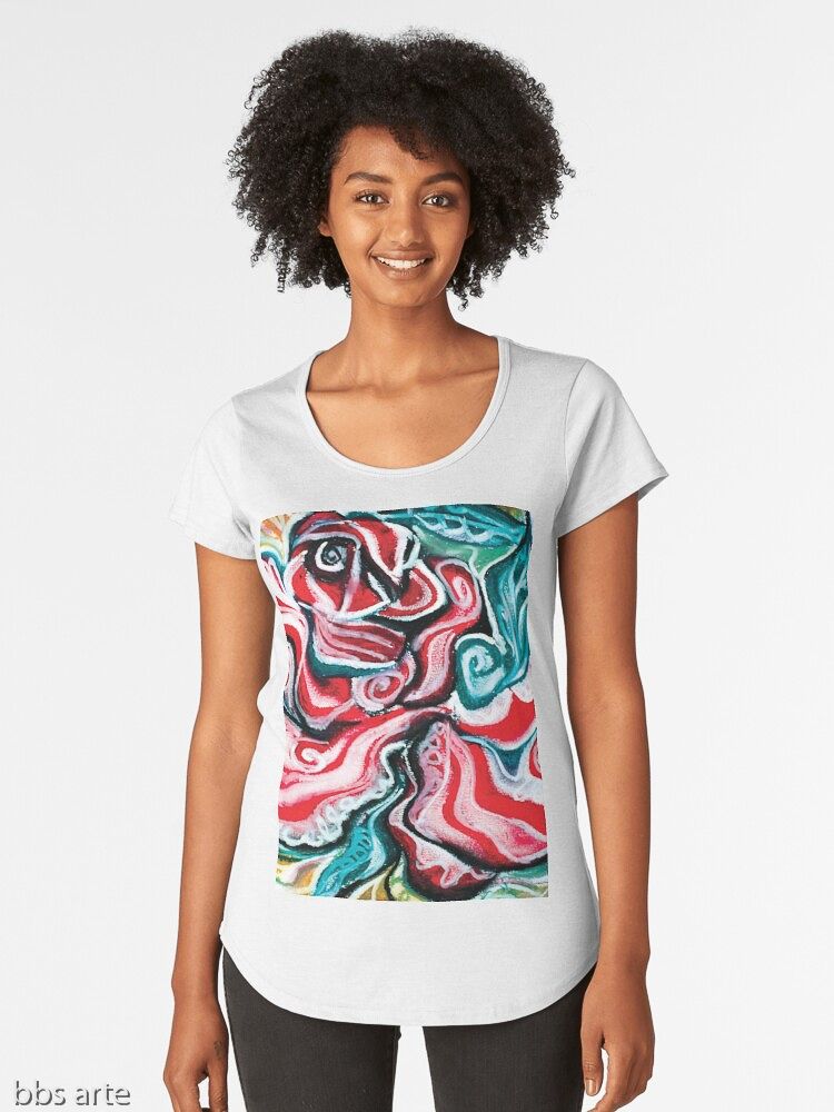 xmas woman scoop t shirt with Christmas colors abstract image in tones of red green, white, black and yellow